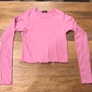 Brandy Melville Pink Long Sleeve Shirt